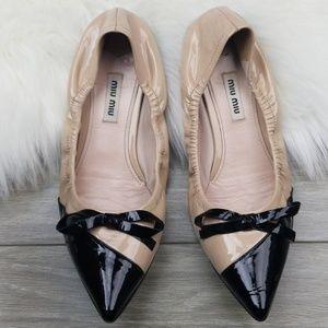 Miu Miu Bicolor Pointed Toe Ballet Flat Nude/Black